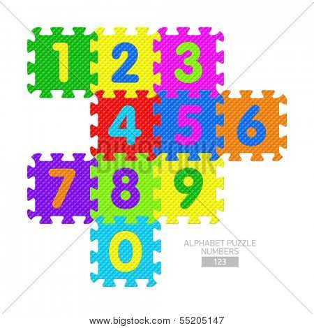 Alphabet puzzle - numbers. Vector.