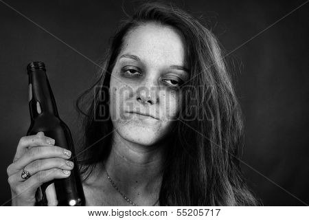 Black And White Of Young Woman Addict