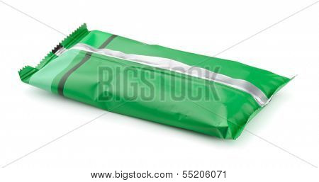 Green foil food package isolated on white