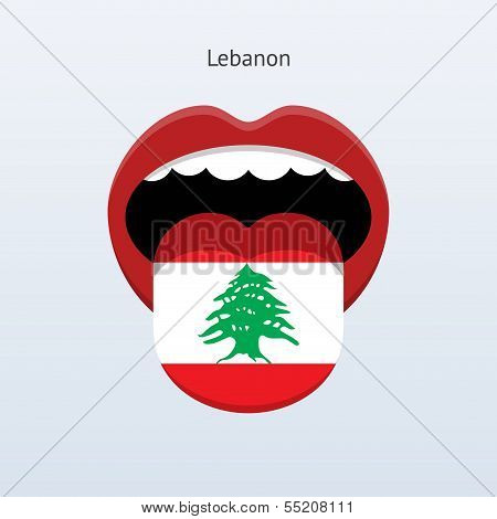 Lebanon language. Abstract human tongue.