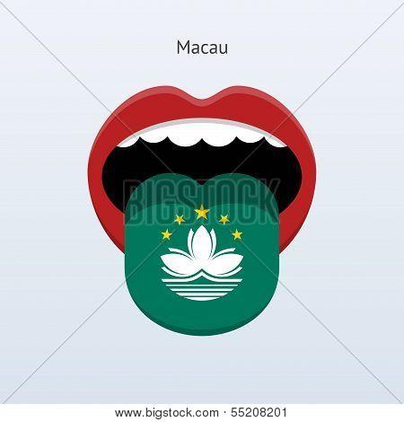 Macau language. Abstract human tongue.