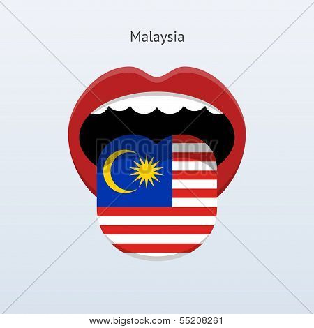 Malaysia language. Abstract human tongue.