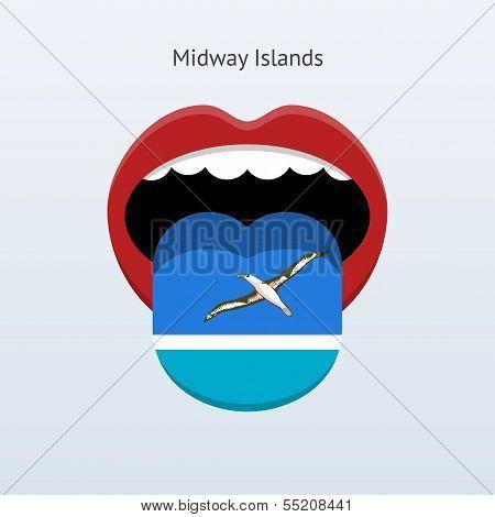 Midway Islands language. Abstract human tongue.