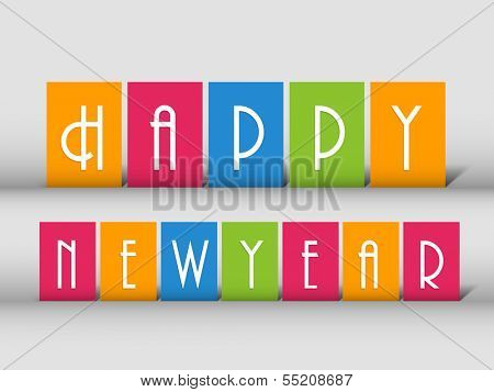 Happy New Year 2014 celebration flyer, banner, poster or invitation with colorful text on grey background.