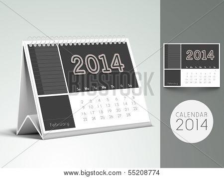 New Year 2014, desk calendar or monthly planner.