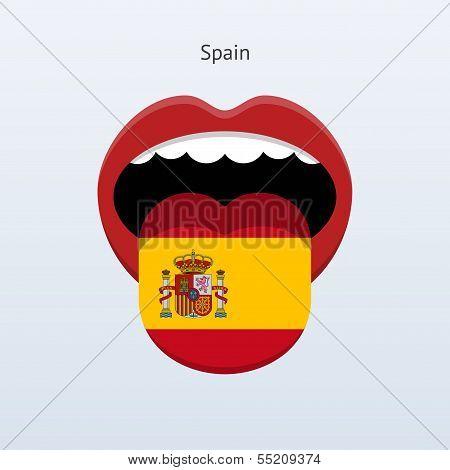 Spain language. Abstract human tongue.
