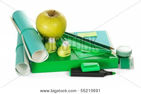 Book, accessories to the letter, hole puncher paint and apple
