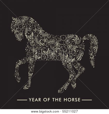Happy New Year 2014 celebration flyer, banner, poster or invitation with stylish illustration of Horse, Chinese symbol of the year on black background.