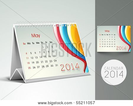 New Year 2014 desk calender or May month planner.