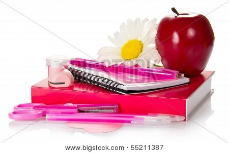 School accessories with apple and flower