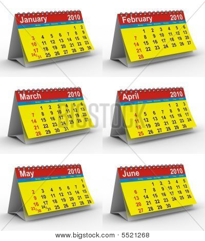 Set 2009 Year Calendar. Isolated 3D Image