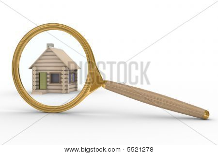 House And Magnifier On White Background. Isolated 3D Image