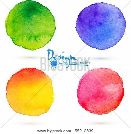 Vector watercolor circle splashes set