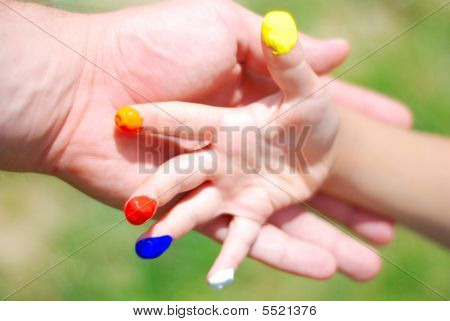 Color On Hands. Kid And Father