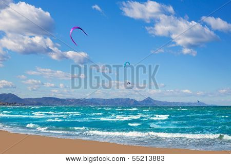 Kite surf in Denia Oliva Gandia in Valencian Community at Mediterranean sea