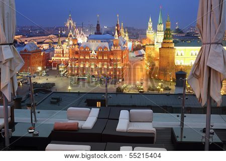 MOSCOW - MAY 3: View of the Historical Museum and Kremlin from the restaurant O2 Lounge, May 3, 2013, Moscow, Russia. Restaurant is located in hotel The Ritz-Carlton