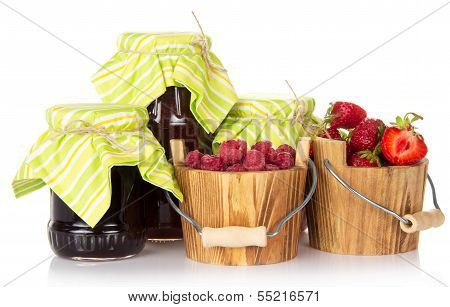 Jars of jam are closed by a pape