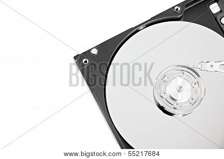 Open The Storage Harddisk On White Background.