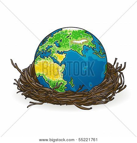 Vector illustration of globe in a bird's nest