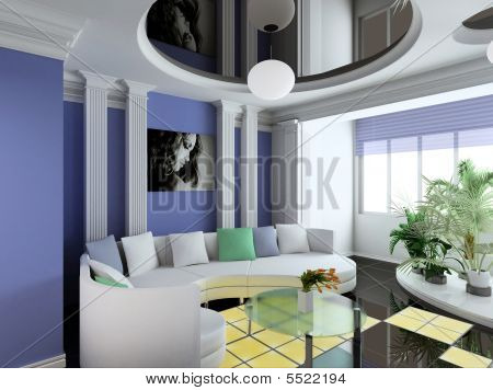 3D Render Classical Interior Of Living-room