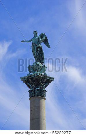 Angel Sculpture On Pillar
