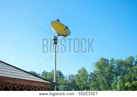 Satellite dish made from pan