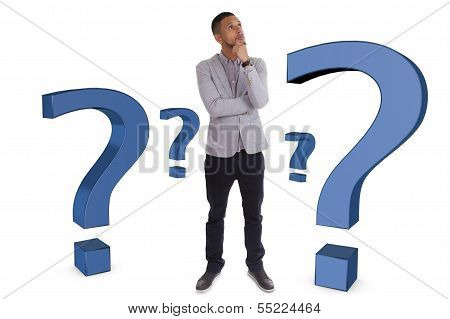 Young Thoughtful African American Man  Surrounded By Question Marks - Black People