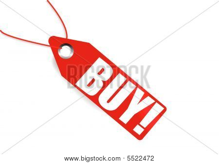 Red Price Tag With Word Buy On It