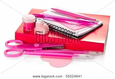 Pink set of school accessories with tutorial