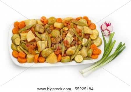 Lebanese food of mixed veggies and food cooked