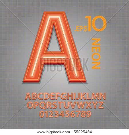 Orange Neon Alphabet And Numbers Vector