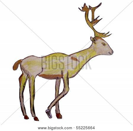 Drawing Of A Yellow Deer With Branchy Horns