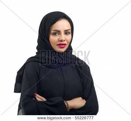 Beautiful Arabian model in hijab posing and isolated on white