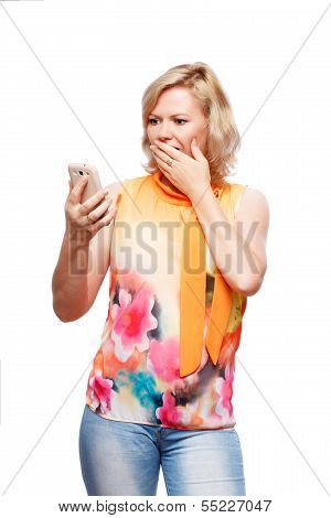 Blonde Woman With Smartphone