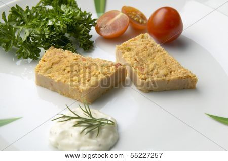 Slices Of Fish Pie On A Plate With Salad