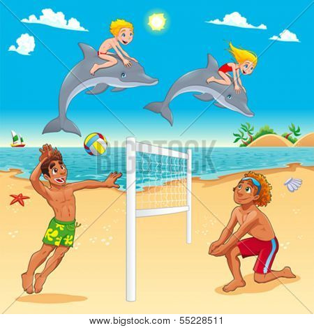 Funny summer scene with dolphins and beach-volley. Cartoon vector illustration.