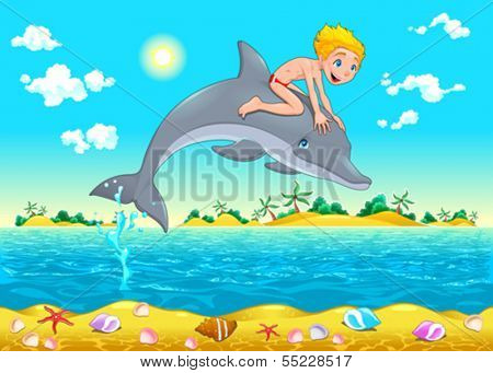 The boy and the dolphin in the sea. Cartoon vector illustration, isolated objects