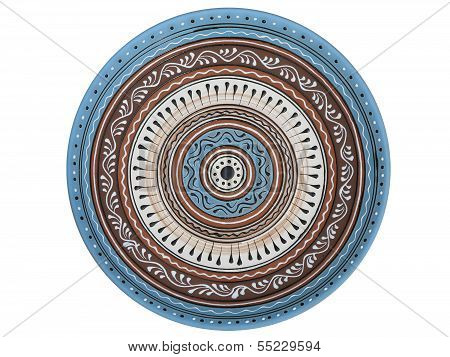 Handmade Ornated Pottery Plate Isolated On White