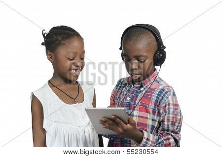 Two African Kids With Tablet Pc