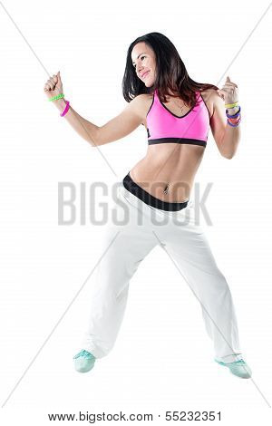 Young Woman Dancing Isolated On White Background. Happy Cheerful Female Enjoying Fitness Danc