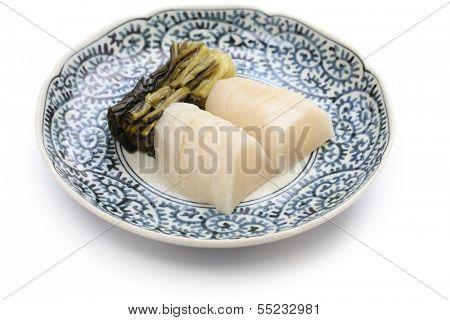 tsukemono, japanese food, suguki, regional pickle of Kyoto made from turnip-like vegetable