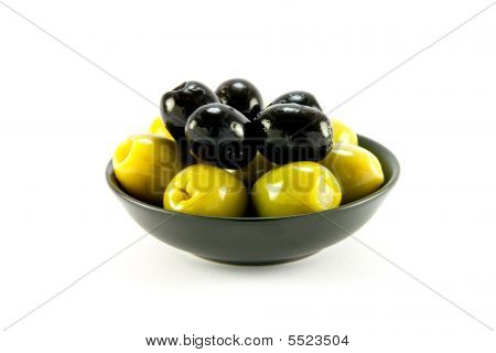 Green And Black Olives In A Bowl