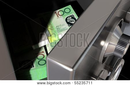 Open Safe With Australian Dollars