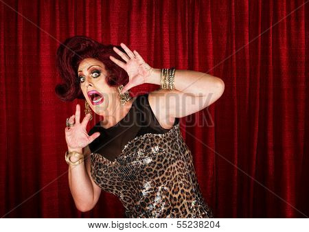 Frightened Man In Drag