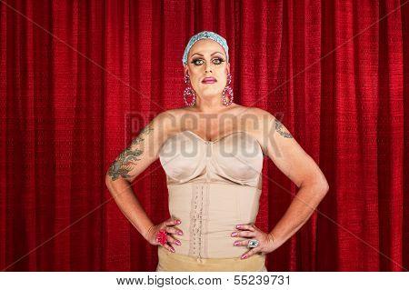 Drag Queen In Undergarments