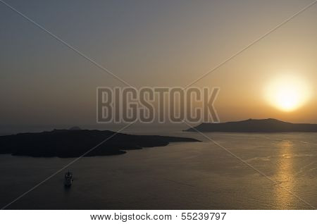 Sunset In Thira.