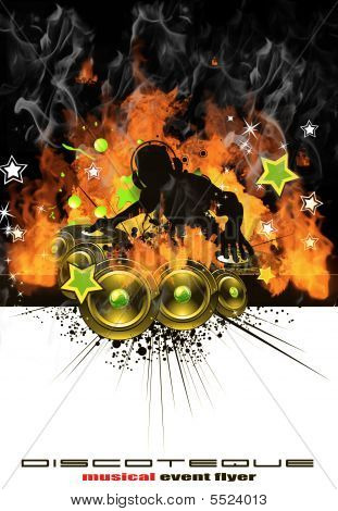 Burning Dj Music Background