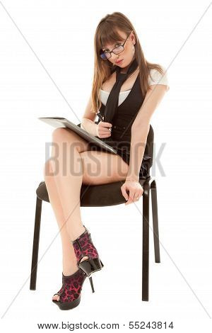 Secretary With Folder Sitting On Chair
