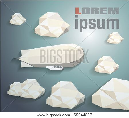Low-poly  zeppelin eps 10 vector illustration