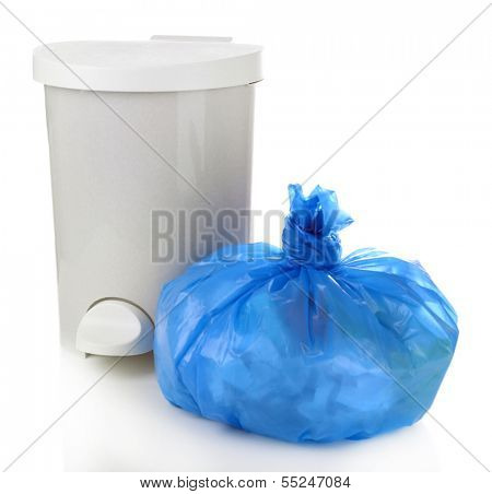 Garbage bin and  plastic trash bag, isolated on white